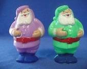 "UNUSUAL Vintage Rosbro Santa Clause Lollipop Sucker Holders Lavender Purple & Green Plastic Ornaments  3-1/2"" Tall Christmas Claus Candy"