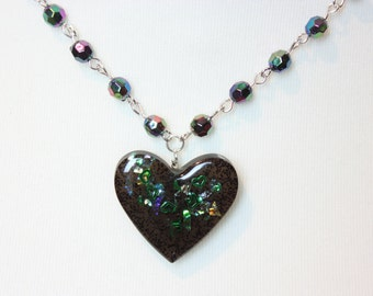 Green and Black Glitter Galaxy Heart Resin Necklace