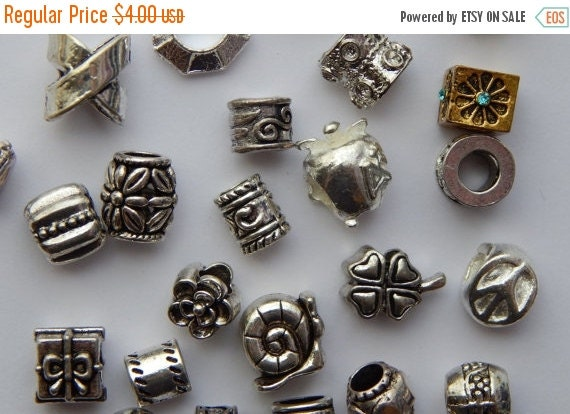 CLEARANCE 25 Pieces of Large Hole Metal Beads, Mixed Bag, European Style, Assorted Styles Sizes Colors and Shapes