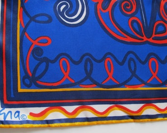 Royal Blue Vera silk scarf vintage long