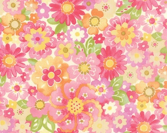 Colette Floral Blossom Rose Pink  Moda Quilt Fabric by the 1/2 yard #52-11