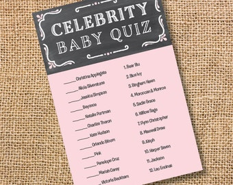 Printable Baby Girl Shower Game Chalkboard Pink and Gray Printable Celebrity Baby Match Game Chalkboard Grey & Pink Twins - INSTANT DOWLOAD