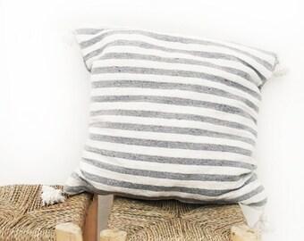 Moroccan POM POM pillow cover - cotton grey stripes
