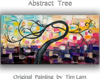 "Original abstract Painting modern impasto palette knife texture painting Surreal Cherry home decor art by Tim Lam 48"" x 24"""