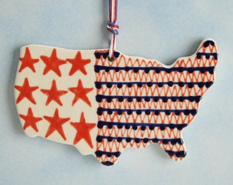 USA America Ornament Hand Painted Red White Blue Stars and Stripes