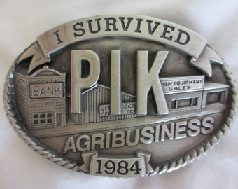 1984 I Survived PIK AgriBusiness Belt Buckle