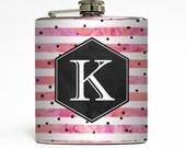 Custom Flask Personalized Polka Dot Monogram Custom 21st Birthday Women Bridesmaid Gifts Stainless Steel 6 oz Liquor Hip Flask LC-1615