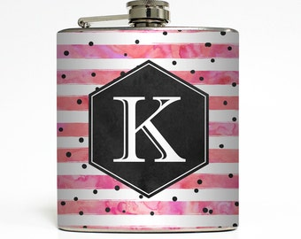 Custom Flask Personalized Polka Dot Monogram Custom 21st Birthday Women Bridesmaid Gifts Stainless Steel 6 oz Liquor Hip Flask LC-1615