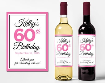 Custom Wine Bottle Labels Personalized Birthday Favors Waterproof Printed Wine Labels Personalized Wine Bottle Stickers WB-1022