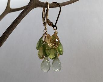 Peridot, Citrine and Green Amethyst Earrings, 14K Gold Fill Semiprecious Stone Earrings, Dangle Earrings, Wire wrapped Earrings