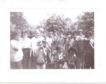 Vintage Photo - Blowing Balloons Family - Vintage Photograph, Ephemera, Snapshot, Vernacular (C)