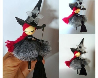 Little Witch black and white doll OOAK