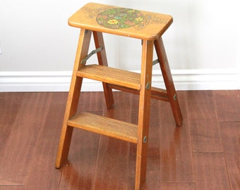 Vintage Hand Painted Step Ladder, Chic Wood Folding Step Ladder, Household Stool Shabby , Item No 1517