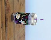Sugar Skulls  - Mason Jar cup  24 oz large Tumbler w sleeve- travel mug - teachers gift - candy swirl straw included