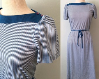 80s Vintage Striped Boat Neck Dress M
