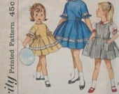 SALE 1960s Girl's Dress Gathered Skirt Short Sleeves Puff Sleeves Jewel Neck Ruffles Simplicity 4289 Girl Size 3 Breast 22 Vintage Sewing Pa