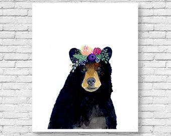 Watercolor Bear, Woodland Nursery Art, Set of Prints, Animal Paintings, Animal Wall Art, Childrens Wall Decor, Kids Art Print, woodland