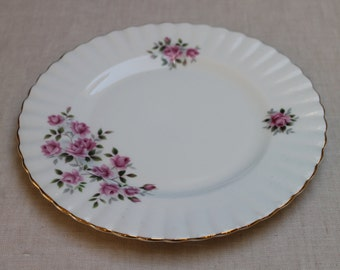 Vintage Dish by Royal Dover China, Bone China Made in England, Pink Roses With Leaves