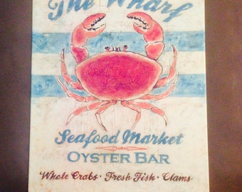 "BEACH SIGN! ""The Wharf -- Seafood Market, Oyster Bar"" -- Beach Cottage Ocean-Themed Sign, Giant Red Crab!"