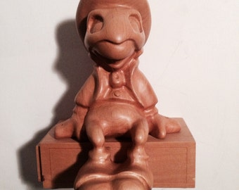 "8-1/2"" WOOD Jiminy Cricket on His Matchbox, Hand Carved, Very Rare, Limited Edition, Handsome!"