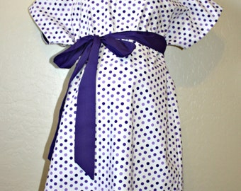 LINED Maternity Hospital Gown -NAME ME - Purple Lavender Polka Dots - Lined in the Color of Your Choice- by Mommy Moxie