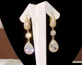 READY FOR SPRING Sale: Ashira Stunningly Dainty Gold Gift Present Cz Dangle Drop Earring Perfect for Bride, Wedding, Festive Night Stud