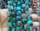 Black Green Agate round coin beads 12mm- 31pcs/strand