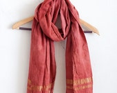 ON SALE Madder and Brazilwood + Gold Fair Trade Handwoven Cotton Scarf