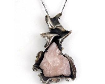 "ROS Reino Finland Modernist 3""~935 Silver/Rose Quartz Pendant Necklace"