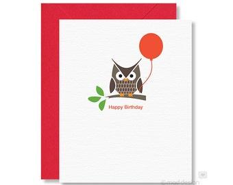 Birthday Card / Owl Birthday Card / Woodland Owl / Happy Birthday Card