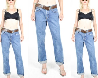 90's BLUE DENIM High Rise Jeans size - S/M - Straight Leg. Button Fly. Vintage Gap 90's Mod Grunge 70's Boho. Waist 30 - S/M- 30x30