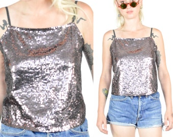 1990's SILVER METALLIC BACKLESS Crop Tank Top. Spaghetti Straps.  Metallic Sparkle. 90's Grunge Mod Club - Mod Minimalist. Size S/M