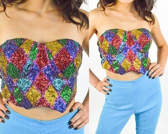 90's Multi Colored Beaded Sequin Diamond Pattern Cropped Corset top size - S/M