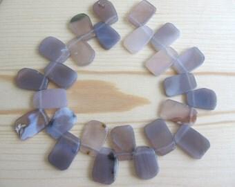 Freeform Grey Agate Slab Beads - 16 Inch strand