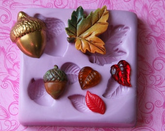Maple Leaves Leaf Silicone Mold Acorn Autumn Polymer Clay Resin Fondant Chocolate Wax Soap Embed