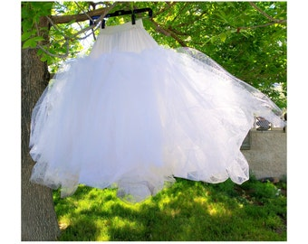 Giant A-Line Tulle Petticoat, Fit and Flare, Crinoline Diamond Net, Vintage FLAWED, Zombie Bride Costume