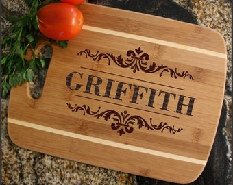 Personalized Cheese Board, Custom Engraved Bamboo Cutting Board, Personalized Wedding Gift, Anniversary, Housewarming Gift-Thin Stripe D16