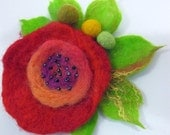 Felt flower rose brooch