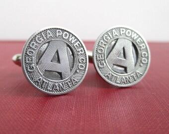 Georgia Power Atlanta Cuff Links - Vintage Repurposed Transit Tokens / Coins