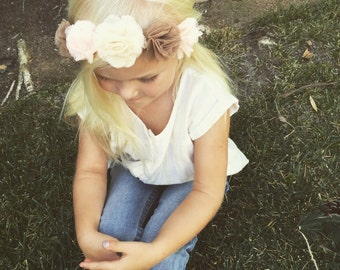 Fall Flower Crown, Woodland Crown, Ballerina Crown, Headband, Tulle Flowers