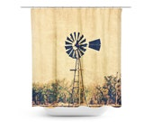 Rustic Shower Curtain - Windmill Photography - Country Landscape Art - Rustic Home Decor - Rural Photograph - Bathroom Decor - Sepia Photo