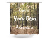 Green Shower Curtain - Typography Art - Forest Photography - Bathroom Decor - Tree Photograph - Choose Your Own Adventure - White and Green