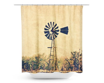 Rustic Shower Curtain   Windmill Photography   Country Landscape Art    Rustic Home Decor   Rural