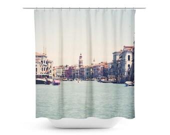 Venice Shower Curtain - Travel Photo - Venetian Photograph - Italian Decor - Earth Tones - Bathroom decor - Blue Canal - Italy Photography
