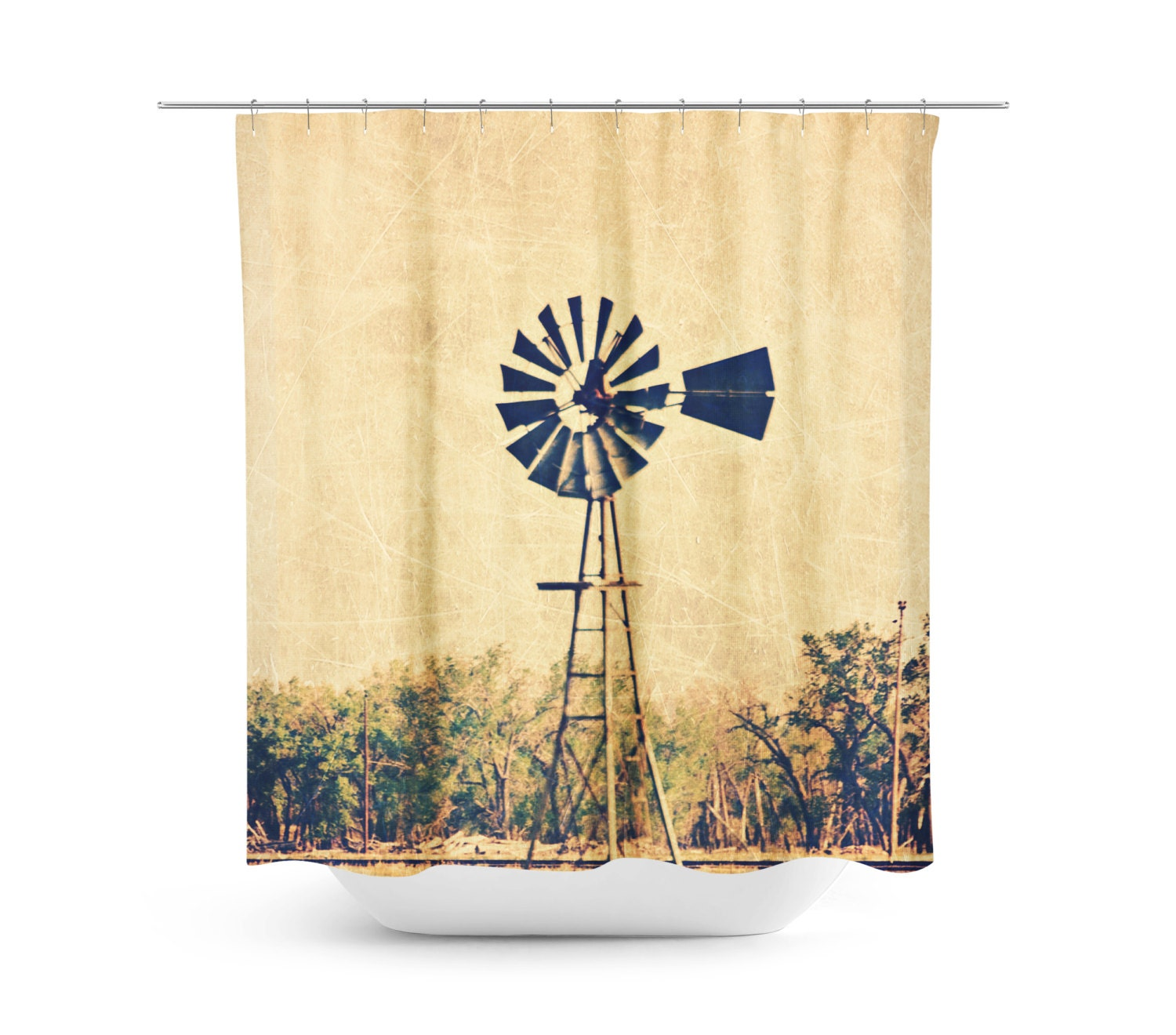 Rustic Shower Curtain Windmill Photography Country