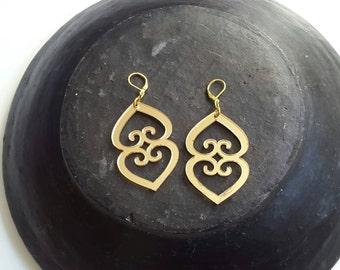 SALE//Mother Earth Asaase Yaa Inspirational Adinkra gold acrylic earrings