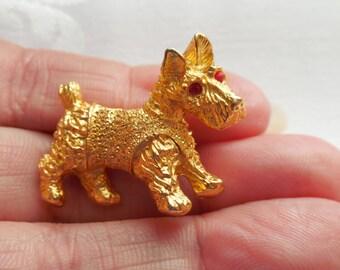 Cute Scottie Dog Gold Tone Brooch Red Rhinestone Eyes