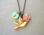 Bird and Letter Necklace - Personalized Gift for Bridesmaid- Monogram Necklace - Mint and Coral Bridesmaid Gift