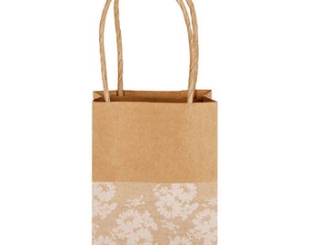 Lace Print Brown Kraft Bags with Handles for Party Favors, Wedding Favors, Gift Bags Set of 5 Bags