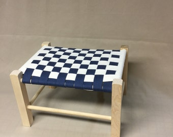 Small Woven Foot Stool, Wood Frame,  Cotton Shaker Tape Checkerboard Pattern